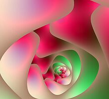 Spiral Labyrinth in Raspberry and Mint by Objowl
