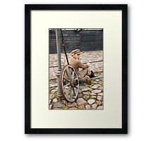 Retro style picture with resting soldier. Framed Print