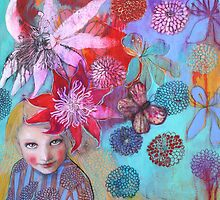 Passion Flowers And Chrysanthemums by Maria Pace-Wynters