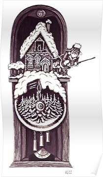 New Year clock surreal black and white pen ink drawing by Vitaliy Gonikman