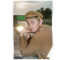 Portrait of soldier in retro style picture Poster