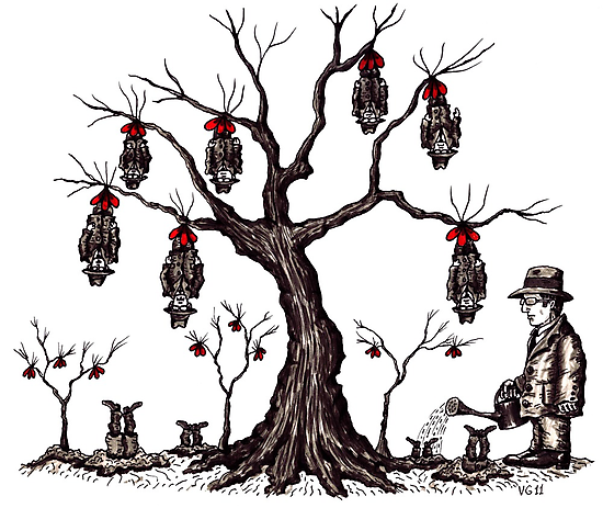Strange tree surreal black and white pen ink drawing by Vitaliy Gonikman