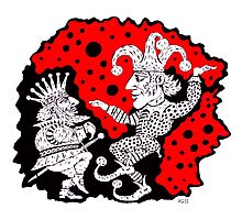 King and Joker surreal black and white and red pen ink drawing Photographic Print