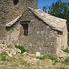 Old house in a medieval village by daffodil