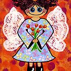 Groovey Angel - She's a hippy chick! by Lisa Frances Judd ~ QuirkyHappyArt