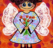 Groovey Angel - She's a hippy chick! by Lisa Frances Judd~QuirkyHappyArt