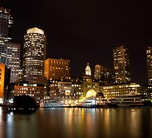 Boston Harbor at Night by Papandrea Photography