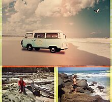 Beach Triptych 3 by Linda Lees