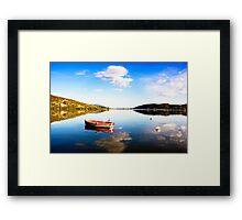 Boat in Kastoria lake (Makedonia, Greece) Framed Print