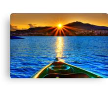 Canoe & Cayak through the Sun Canvas Print