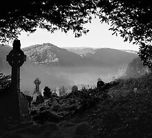 Celtic graveyard in mist, Glendalough, County Wicklow, Ireland by Andrew Jones