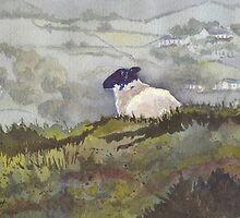 Peaceful Overlook (sheep series 5) by Marsha Elliott