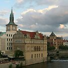 Buildings near Charles bridge by Ilan Cohen