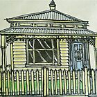 Single fronted house. Melbourne, Australia.© Pen and wash on fabric. by Elizabeth Moore Golding