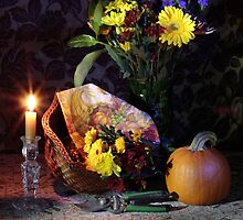 Still life flowers with Pumpkin by FrankSchmidt