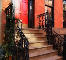 Greenwich Village Brownstone with Red Door by Susan Savad