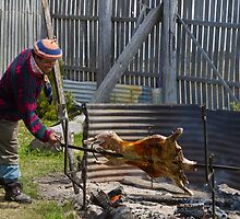 Asador at work, Cerro Negro Estancia, Patagonia, Chile by Coreena Vieth