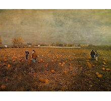 Pumpkin Pickers Photographic Print