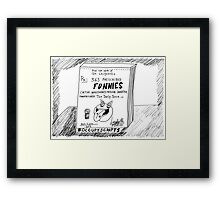 Occupy Scripts editorial cartoon Framed Print