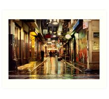 Wanker Lane, in the Rain Art Print