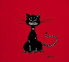 Dark Red Grunge Evil Black Cat IPhone Case by Boriana Giormova