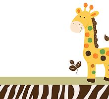 Cute Colorful Giraffe Card with Zebra Stripe border by JessDesigns