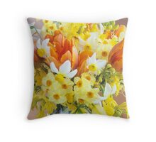 Sunny Tulips and Narcissus Throw Pillow