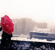 Snowy Day Redux, South Bank, London by strangelight