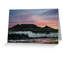 Sunset over Cape Town - Oil Painting Greeting Card