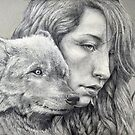 The Girl and the Wolf (underdrawing) by Michael  Shapcott
