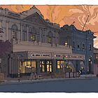 Old Cinema Semaphore Sunset by David  Kennett