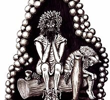 Bacchus God of Wine black and white pen ink drawing by Vitaliy Gonikman