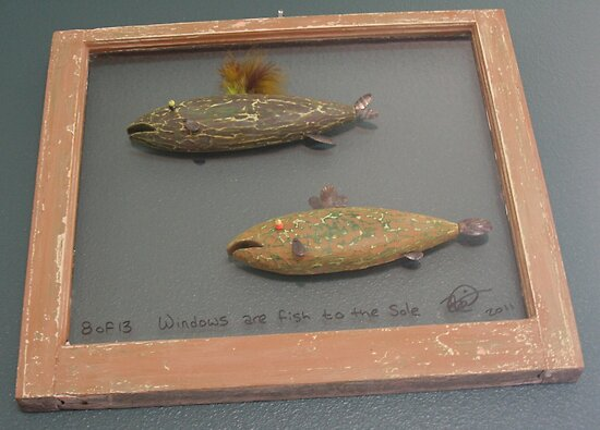 """Windows are fish to the sole 8 of 13. 28"""" x 24"""" (SOLD) by Fred Weiler"""