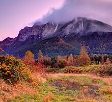 First Light and First Snow on Uncle Si's Mountain by Dale Lockwood