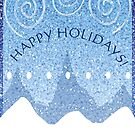 Happy Holidays Snowy Scape in Blue by elledeegee