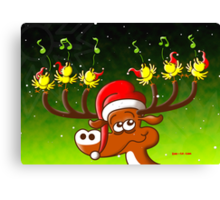 Birds' and Deer's Christmas Celebration Concert Canvas Print