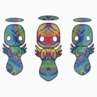 Small flock of rainbow damask Strangels shirt by NetherworldHero