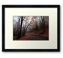 foggy fall drive Framed Print