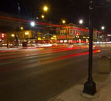 A busy night by Lincoln Square by Sven Brogren