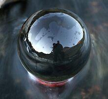 Self portrait in a chrystal ball by Frank Olsen