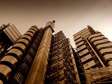 Lloyds' metallic turrets, Gresham Street, London by Chris Millar