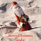 Santa in the sand Christmas Card by Elana Bailey