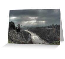 November Sunbeams over Clifton Suspension Bridge, Bristol. Greeting Card