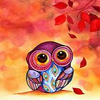 Owl&#x27;s First Fall Leaf by Annya Kai