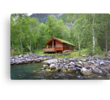 Log Cabin in Skjolden, Norway Metal Print