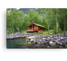 Log Cabin in Skjolden, Norway Canvas Print