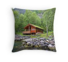 Log Cabin in Skjolden, Norway Throw Pillow