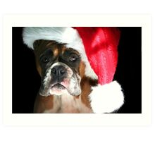 Christmas Boxer dog Art Print