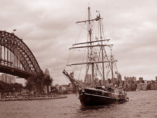 The Tall Ship & Sydney Harbour, NSW, Australia by Adrian Paul