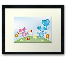 Happy elephants illustration for kids Framed Print